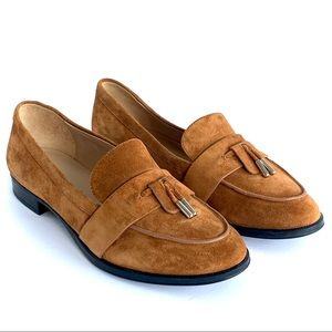 """Via Spiga size 7 Brown Suede 1"""" heel Loafers NWOT"""
